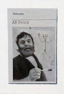 Hugh Mendes | Obituary: A R Penk | 2020 | Oil on linen | 30x20cm
