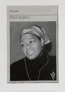 Hugh Mendes | Obituary: Maya Angelou | 2014 | Oil on linen | 35x25cm