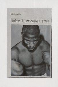 Hugh Mendes | Obituary: Rubin 'Hurricane' Carter | 2014 | Oil in linen | 30x20cm
