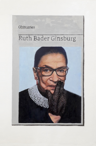 Hugh Mendes | Obituary: Ruth Bader Ginsburg | 2020 | Oil on linen | 30x20cm
