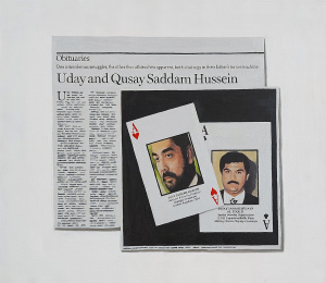 Hugh Mendes | Obituary: Uday and Qusay Hussein | 2004 | Oil on linen | 40x45cm