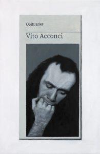 Hugh Mendes | Obituary: Vito Acconci | 2017 | Oil on linen | 30x20cm