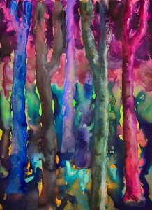 Simon Keenleyside | Woods (blues, green, pink) | 2021 | Watercolour, spray paint, ink on Fabriano Artistico 640gsm paper | 38x28cm