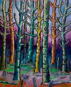 Simon Keenleyside | Woods with blue sky | 2021 | Oil & spray paint on paper | 35x26cm