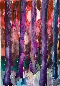 Simon Keenleyside | Woods with moon (pink and purple) | 2021 | Watercolour, spray paint, ink on Fabriano Artistico 640gsm paper | 38x28cm
