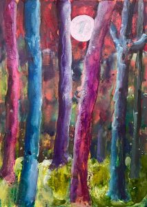 Simon Keenleyside | Woods with moon (purple, blue, green) | 2021 | Watercolour, spray paint, ink on Fabriano Artistico 640gsm paper | 38x28cm