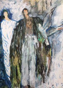 Melissa Kime | Flight | 2021 | Oil pastel, acrylic, watercolour, oil bar on paper | 29.7x21cm
