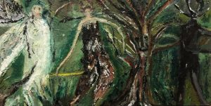 Melissa Kime | Old Papa Tooth Wart and the transformation of Puck into a trickster devil | 2021 | Oil, oil pastel, oil bar on board | 30x50cm