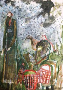 Melissa Kime | Pheasant girls with basket bags | 2021 | Oil pastel, acrylic, watercolour, pencil oil bar on paper | 29.7x21cm