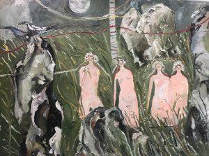 Melissa Kime | Stone Women | 2020 | Oil & collage on canvas | 45x65cm