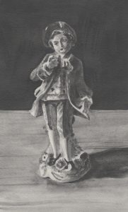 Richard Moon | Young Aristocrat (monochrome version) | 2020 | Water soluble graphite on paper | 26x16cm