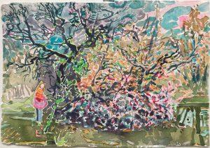 Dominic Shepherd | English Hippy | 2021 | Watercolour, oil, soft pastel on paper | 21x30cm