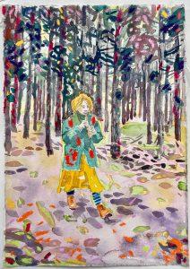 Dominic Shepherd | The Piper Calls the Tune | 2021 | Watercolour, oil, soft pastel on paper | 30x21cm